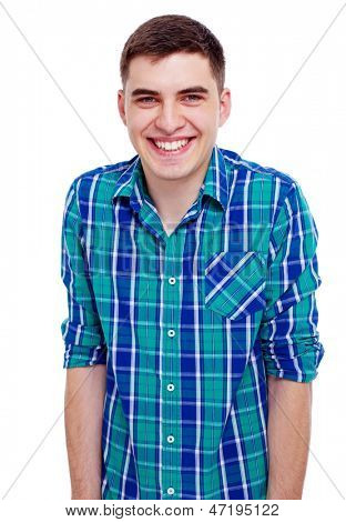 Closeup portrait of smiling young man in checkered shirt. Isolated on white background, mask included