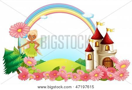 Illustration of a pixie and a castle on a white background