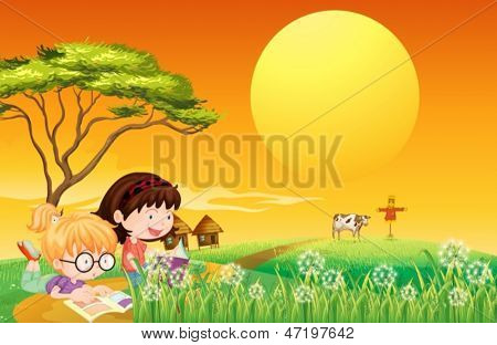 Illustration of the two girls reading books at the farm