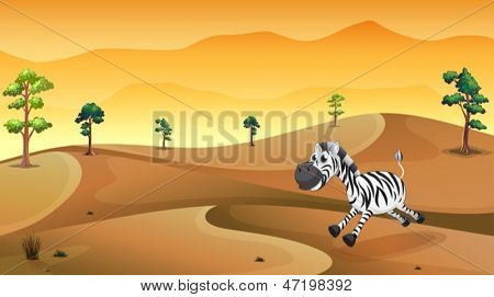 Illustration of a zebra in the desert
