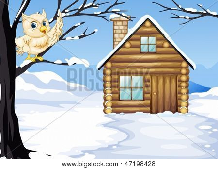 Illustration of an owl at the branch of a tree near the wooden house