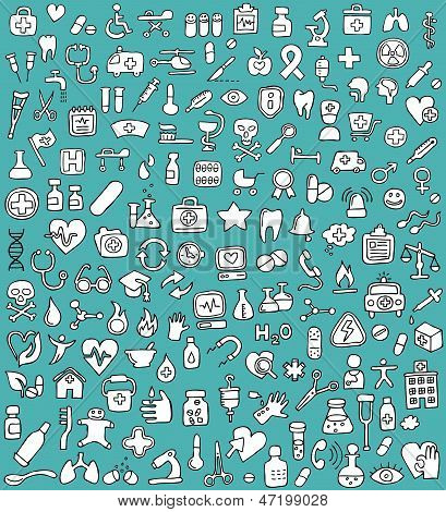 Big Doodled Medicine And Health Icons Collection In Black And White