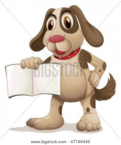Illustration of a dog holding an empty book on a white background