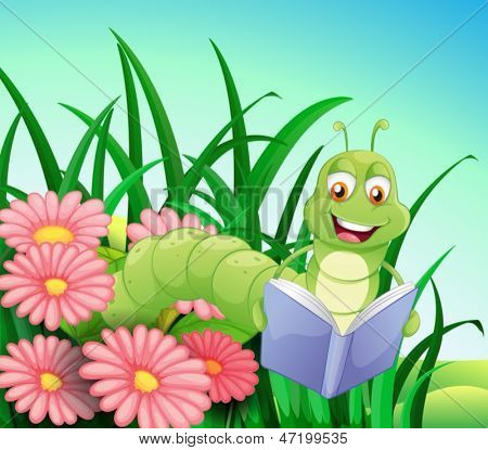 Illustration of a worm reading a book