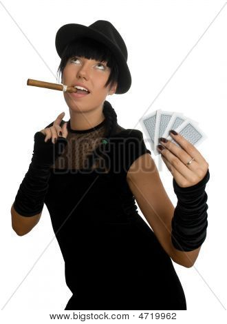 Sexy Girl With Cigar And Cards