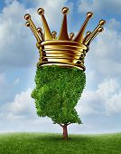 picture of naturist  - Environmental Leadership concept with a tree in the shape of a human head wearing a gold crown as an award for being a leader for conservation and the protection of the environment on a summer sky background - JPG
