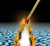 image of trailblazer  - Creating new opportunities with innovative solutions and trail blazing or trailblazing business concept with a lit wooden match opening a clear road through a maze or labyrinth by burning path as a symbol of creative thinking - JPG