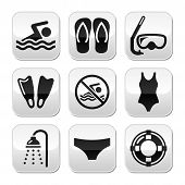 stock photo of speedo  - Sport black buttons set  - JPG