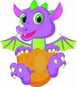 stock photo of dinosaur-eggs  - Vector illustration of Cartoon baby dinosaur hatching - JPG