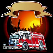 foto of ladder truck  - Vector Cartoon Fire Truck - JPG