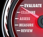 picture of performance evaluation  - A performance review or evaluation measured on a speedometer or gauge to assess or review your actions on a job or exam - JPG