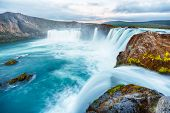 stock photo of waterfalls  - Godafoss is a very beautiful Icelandic waterfall - JPG