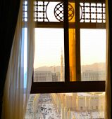 stock photo of masjid nabawi  - Nabawi Mosque from out of the window in semi - JPG