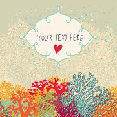 Cute seamless vector background with place for text. Beautiful corals in the sea. Underwater landsca