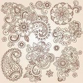 stock photo of henna tattoo  - Henna Paisley Flowers Mehndi Tattoo Doodles Set - JPG