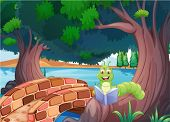Illustration of a worm reading a book near the bridge