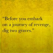 stock photo of revenge  - Inspirational quote by Confucius on earthy background - JPG