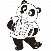 stock photo of accordion  - Cartoon Panda playing an accordion - JPG
