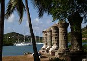Old Sail Loft Pillars In English Harbour In Antigua Barbuda