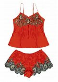 stock photo of peignoir  - red peignoir and shorts - JPG