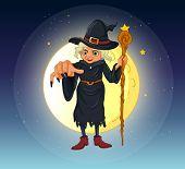 Постер, плакат: Иллюстрация ведьма держа палку стоя в центре полной Луны