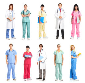image of health-care  - Smiling medical people with stethoscopes - JPG