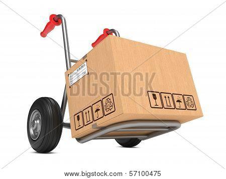 Blank Cardboard Box on Hand Truck.