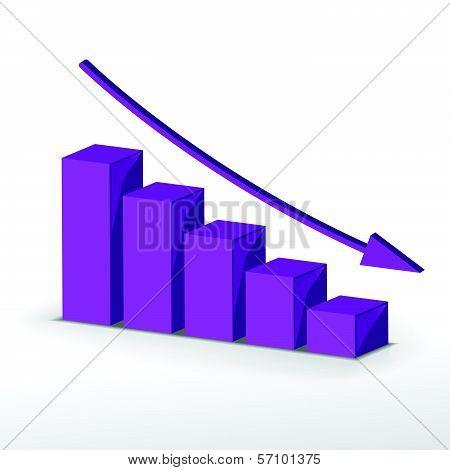 3D Business Decline Graph. Vector Business Concept