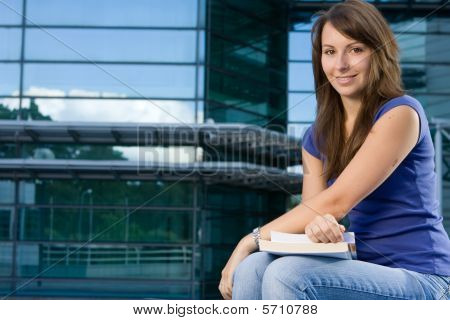 Pretty Caucasian Girl Sitting Relaxing