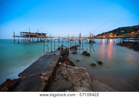 Italian coast Trabucco At Sunset