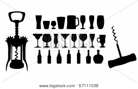 Silhouette of Drinks. Cafe Icons.Vector