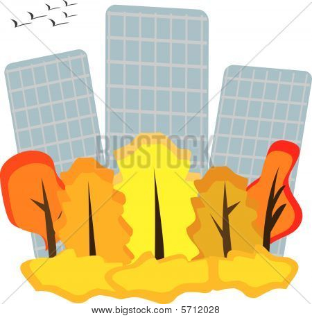 Autumnal illustration with sky-scrapers