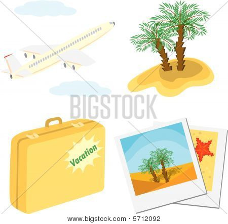 Set of color vacation icons (aircraft, palm trees, suitcase, photos)