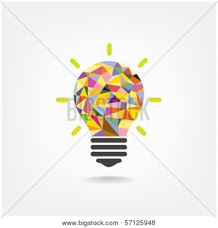 Colorful Geometric Light Bulb Creative Concept  Business Concept