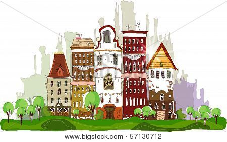 City background Modern city with lots of residential and office buildings
