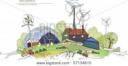 Farm illustration, city collection