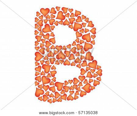 Letter B Made Of Valentines