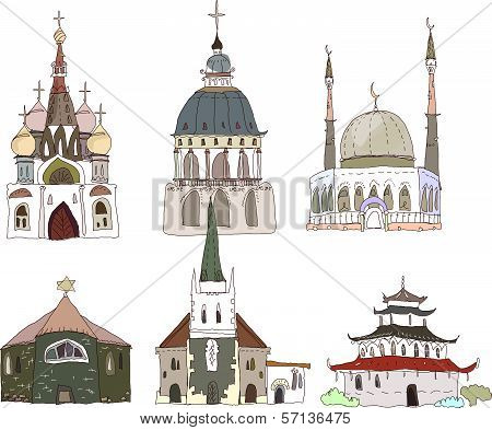 City collection temples of different religions