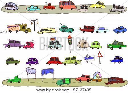 Cute cars set, city collection