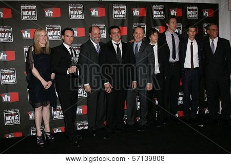 Cast of The Social Network with Scott Ruden and Kevin Spacey and Aaron Sorkin at the 16th Annual Critics' Choice Movie Awards Press Room, Hollywood Palladium, Hollywood, CA. 01-14-11