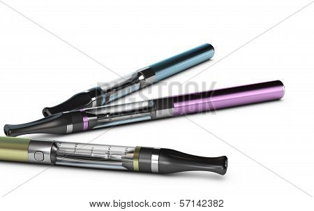 E-cigarettes, E-cig Over White Background