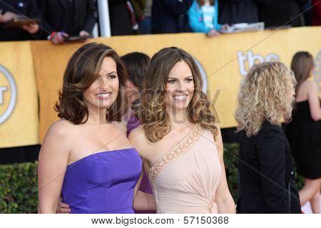 Mariska Hargitay and Hilary Swank at the 17th Annual Screen Actors Guild Awards, Shrine Auditorium, Los Angeles, CA. 01-30-11