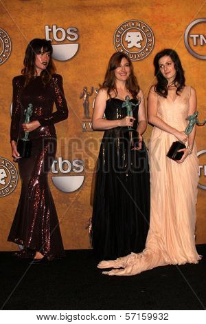 Paz de la Huerta, Kelly Macdonald and Aleksa Palladino  at the 17th Annual Screen Actors Guild Awards Press Room, Shrine Auditorium, Los Angeles, CA. 01-30-11