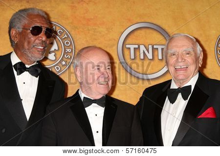 Morgan Freeman, Tim Conway and Ernest Borgnine at the 17th Annual Screen Actors Guild Awards Press Room, Shrine Auditorium, Los Angeles, CA. 01-30-11