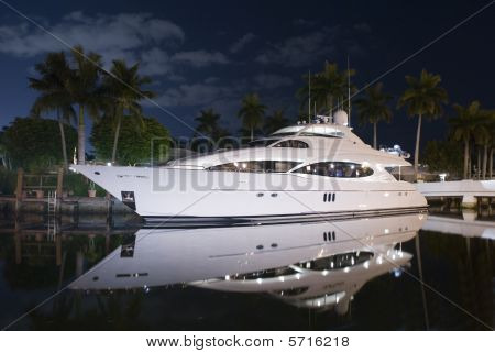 Night Shot Of Luxury Yacht