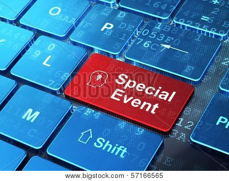 Business concept: Head With Lightbulb and Special Event on computer keyboard background