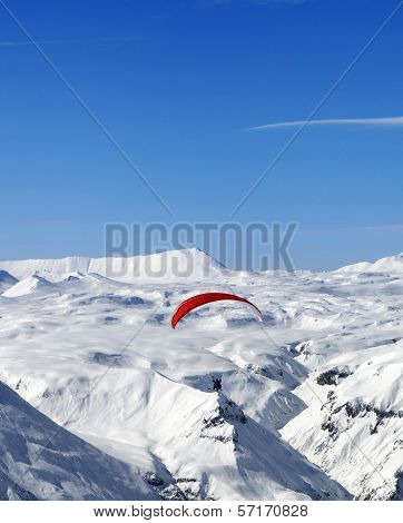 Sky Gliding In Caucasus Mountains
