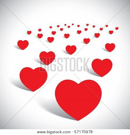 Romantic Garden Full Of Love Plants In Heart Shape - Vector Graphic