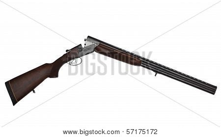 Opened Double-barrelled Hunting Gun Isolated On White