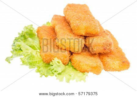 Heap Of Fish Fingers On Salad